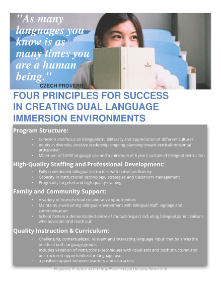 four principles for succes in creating dual language immersion environments